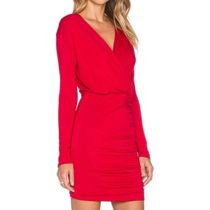 NWT De Lacy KELSI Ruched DRESS in RED